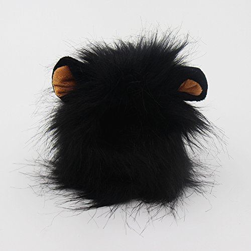 GABOSS Lion Mane Wig Costume for Cat, Little Dog Halloween Dress with Ears Pet Festival Party Fancy Hair Cat Clothes (Black)