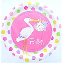 "Custom & Unique {9"" Inch} 8 Count Multi-Pack Set of Medium Size Round Circle Disposable Paper Plates w/ Spotted Stork Delivering Baby Girl Bear Swaddled in Blanket ""Pink, White Green & Yellow Colored"""