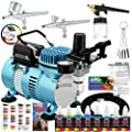 Master Airbrush Cool Runner Ii Dual Fan Air Compressor Professional Airbrushing System Kit With 3 Airbrushes Gravity And Siphon Feed 6 Primary Opaque Colors Acrylic Paint Artist Set How To Guide