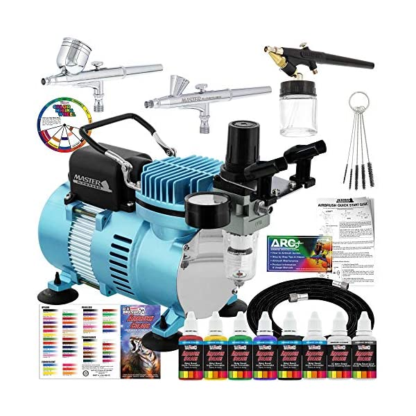 Master-Airbrush-Cool-Runner-II-Dual-Fan-Air-Compressor-Professional-Airbrushing-System-Kit-with-3-Airbrushes-Gravity-and-Siphon-Feed-6-Primary-Opaque-Colors-Acrylic-Paint-Artist-Set-How-to-Guide
