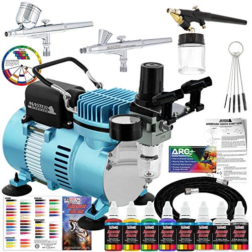 Master Airbrush Cool Runner II Dual Fan Air Compressor Professional Airbrushing System Kit with 3 Airbrushes, Gravity and Siphon Feed - 6 Primary Opaque Colors Acrylic Paint Artist Set - How to Guide (Airbrush Air Compressor)