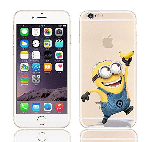 iCHOOSE iPhone 5S Caso / Minions Dibujos Animados Cubierta de Gel para Apple iPhone 5s 5 / Protector de Pantalla y Paño / Cuelgue Bien Mano de Plátano