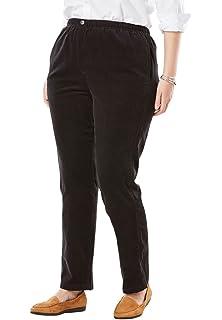 3c5983e8781c9 Woman Within Plus Size Petite Elastic-Waist Cotton Straight Leg Pant ...