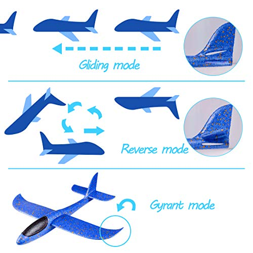 Refasy Foam Airplanes for Kids Children 18.9inch Gliders Airplane Toy Set Hand Throwing Challenging Model Foam Aircarft Two Flight Modes Best Outdoor Sport Flying Plane Toys for Kids Gift Blue by Refasy (Image #2)
