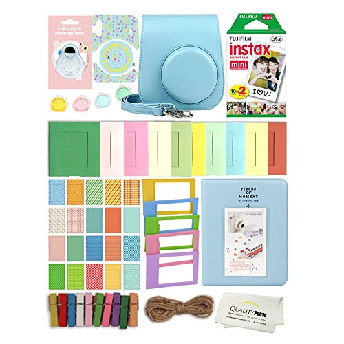 Fujifilm Instax Mini 11 Deluxe 8 in 1 Accessory Bundle Kit Case Album Stickers Frames and Quality Photo Microfiber Cloth (Sky Blue)