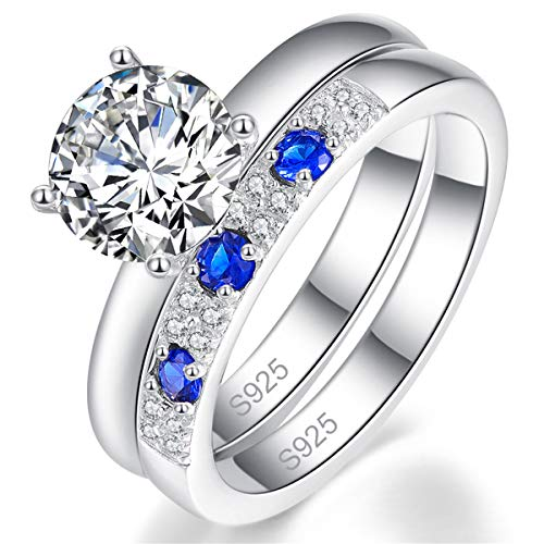 - BONLAVIE Eternity Wedding Rings Set Pure 925 Sterling Silver Created Blue Sappphire White CZ Size 7