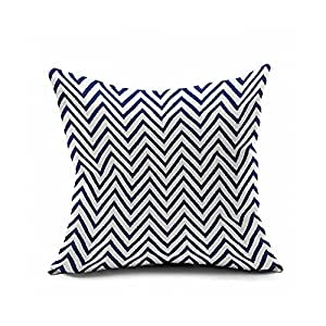 Pillowcases Blue and white lines small wave design 18x18(inches)