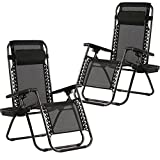 Zero Gravity Chairs Set of 2 with Pillow and Cup Holder Patio Outdoor Adjustable Dining Reclining Folding Chairs For Deck Patio Beach Yard