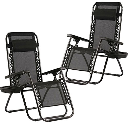 (Zero Gravity Chairs Set of 2 with Pillow and Cup Holder Patio Outdoor Adjustable Dining Reclining Folding Chairs for Deck Patio Beach)