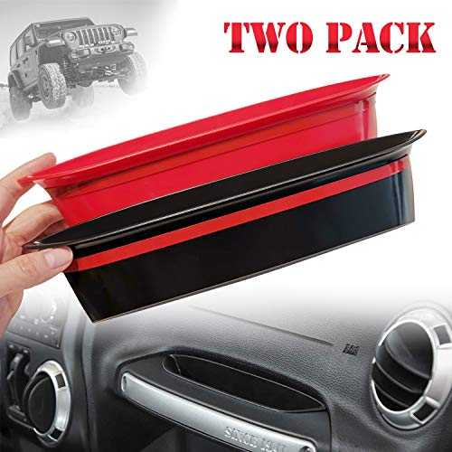 JOINT STARS GrabTray Passenger Storage Tray Organizer Grab Handle Accessory Box for 2011-2018 Jeep Wrangler JK JKU, Interior Accessories, Black/Red
