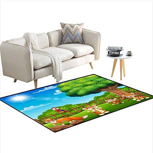 Cage Scrollwork (Kids Carpet Playmat Rug Little Animals are Enjoying Nature by The cage 4'x14')