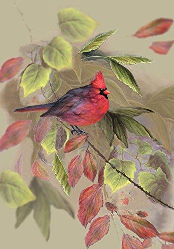 Toland Home Garden Red 28 x 40 Inch Decorative Fall Autumn Leaf Cardinal Bird House Flag