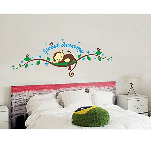 Branch Sweet (DierCosy Sweet Dreams Sleeping Monkeys and Tree Branch Birds Baby Wall Sticker Decors for Boys and Girls Nursery Room Decoration)
