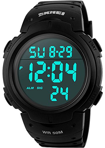 Water Resistant Stopwatches (Men's Digital Sports Watch LED Screen Large Face Military Watches and Waterproof Casual Luminous Stopwatch Alarm Simple Army Watch - Black)