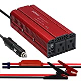 Car Power Inverter 600 Watt, Auto Inverter DC to 110 Volts Inverter Car Charger, 12 Volt Inverter DC to AC Converter for Car with 2 AC Outlets & 4.8A Dual USB Charging Ports & Alligator Clips