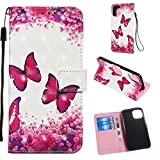 """Wallet Case with Black Dual-use Pen for iPhone 11 Pro,Aoucase Luxury Wrist String 3D Effect Red Butterflies Painting Card Holder Shock Resistant Soft TPU PU Leather Case for iPhone 11 Pro 5.8"""" 2019"""