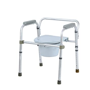 QINAIDI Silla de Baño para Discapacitados Plegable Inodoro para Discapacitados Silla para IR al Baño Silla de Inodoro de Asiento Ajustable en Altura para ...