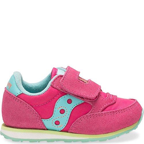Saucony Jazz Hook & Loop Sneaker (Toddler/Little Kid), Pink/Turqoise/Lime, 11 M US Little Kid