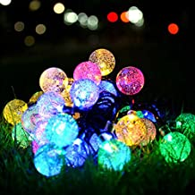 FEFELightup Multi-colored Solar String Lights 20ft 30 LEDs Crystal Globe Lights Waterproof