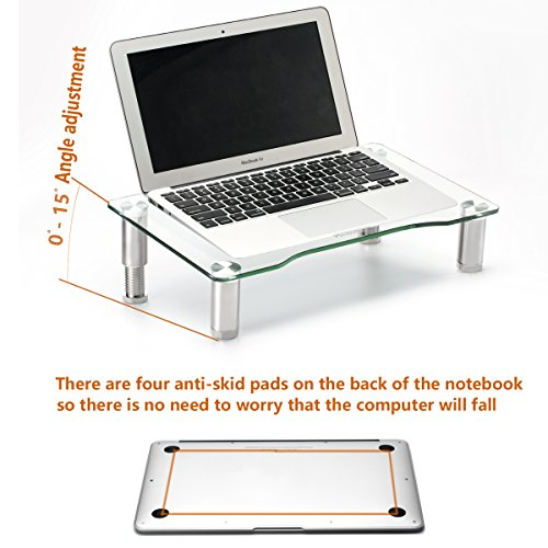 Clear Tempered Glass Computer Monitor Riser with Height Adjustable Multi Media Desktop Stand for Flat Screen LCD LED TV, Laptop/Notebook/Xbox One,HD01T-002 by Hemudu (Image #3)'
