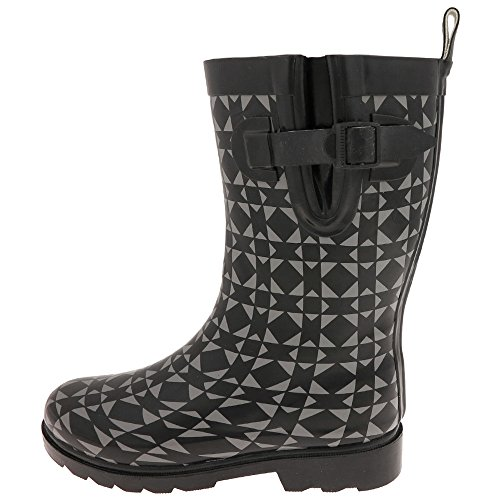 Capelli New York Ladies Geometric Print Short Fleece Lined Rain Boot Black Combo X2ttcpalF