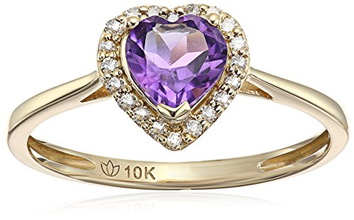 10k Yellow Gold African Amethyst and Diamond Solitaire Heart Halo Engagement Ring (1/10cttw, H-I Color, I1-I2 Clarity), Size 7 (Diamond Heart Engagement Ring)