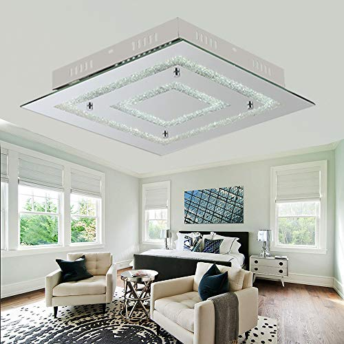 AUDIAN Smart Flush Mount Ceiling LED Crystal Square Ceiling Lamp Close to Ceiling Lighting Dimmable Chandelier Lighting Fixture Gorgeous Flushmount Lighting 4000K 2640lm for Closet Living Room Bedroom