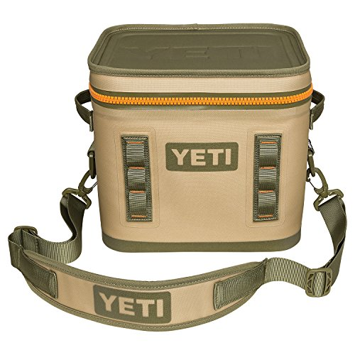 YETI Hopper Flip 12 Can Portable Cooler, Field Tan Blaze Orange