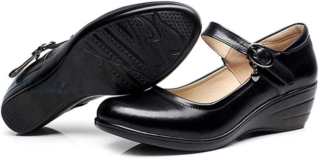 Scarpe da Donna con Zeppa Moda Cinturino in Pelle Impermeabile con Fibbia Punta Tonda Piatta Nero Scarpe da Lavoro Classiche da Ufficio Scarpe da Donna Mary Jane