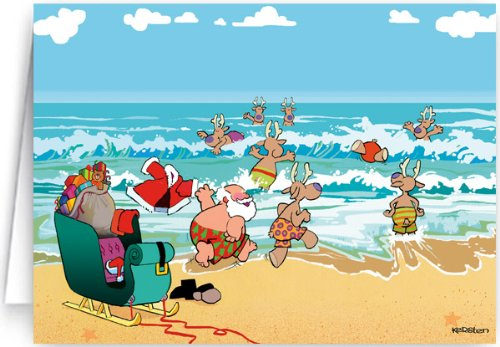 beach theme christmas card 12 cards 13 envelopes amazoncouk office products - Beach Themed Christmas Cards