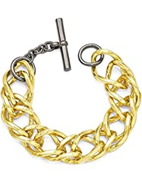 "<span class=""a-offscreen"">[Sponsored]</span>IceCarats Bronze Diego Massimo Gold Tone Black Double Link Bracelet 9 Inch Chain Fancy"