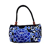 Hui Ma Blossom Flower Embroidered Fashion Top Handle Shoulder Handbag (purple)