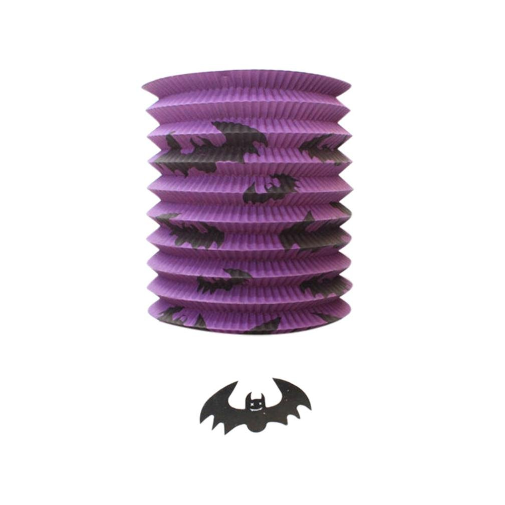 CYCTECH Paper Pumpkin Bat Skeleton Hanging Sky Lantern Light Lamp Halloween Party Decor (Purple)
