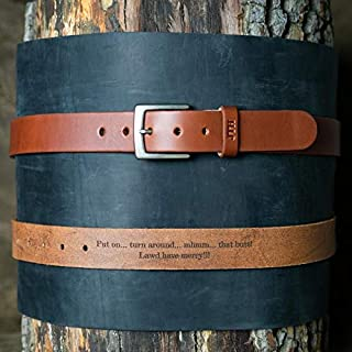 product image for No. 201 Fine Leather Belt in Chestnut Brown – Personalized Custom Belt – with Secret Message – Square Nickel Buckle