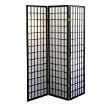 ORE International 3-Panel Room Divider, Black