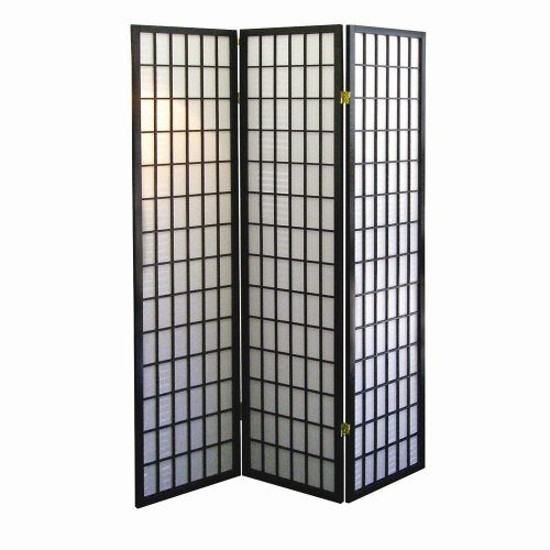 ORE International 3-Panel Room Divider, Black