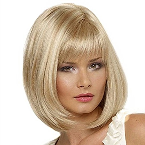 Beauty : YOURWIGS Women's Blonde Bob Wigs Short Hair Straight Synthetic Wigs for Woman Daily Wear with Wig Cap Z069