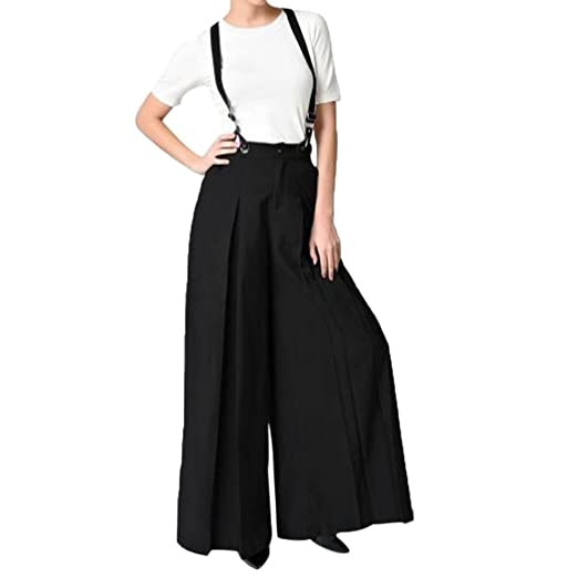 cb57b53f3f9ff iTLOTL Women Casual Pleated High Waisted Wide Leg Palazzo Pants Suspenders  Trousers (S