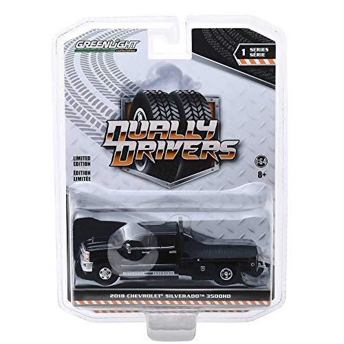 Dually Drivers Series Greenlight 2018 Chevy Silverado 3500HD (Black) 1/64 Scale