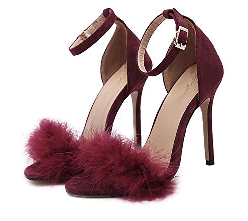 Feathers Open red Shoes Shoes Heels wine Court Women Pumps High Heel Sandals Plush Hollow Toe GLTER qHx1fX1
