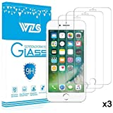 "WZS iPhone 6, 6S, 8, 7 Screen Protector, [3-Pack] Premium Tempered Glass with 99.99% HD Clarity and 3D Touch Accuracy, Tempered Glass Screen Protector for iPhone 6S, iPhone 6,iPhone 8, 7 [4.7"" inch]"