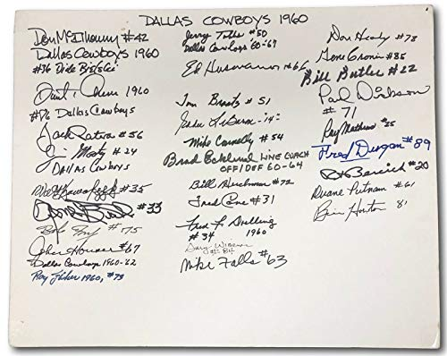 Very Nice Signed - 1960 Dallas Cowboys 20 X 16 Signed Display 30 Sigs Very Nice JSA
