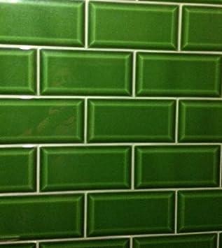 Carrelage Metro Anglais Vert Brillant 10 X 20 Cm Amazon Fr Bricolage
