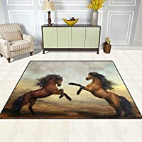 DEYYA Contemporary Area Rug Rugs Wild Horse Non-Slip Floor Mat Doormats for Living Room Bedroom 63 x 48 inches