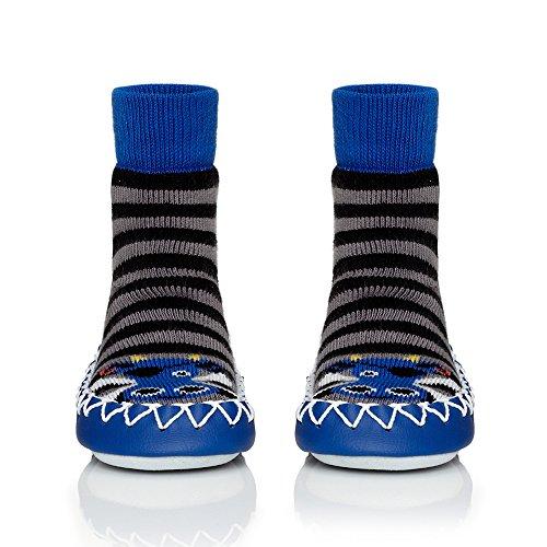 Moccis Aye Aye Moccis Kind / Junior - Leder Mokassins Hausschuhe Socken