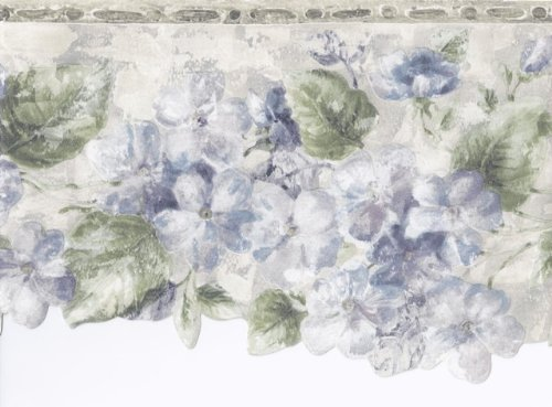 Green Silver Blue Floral Wallpaper Border 76266 ED