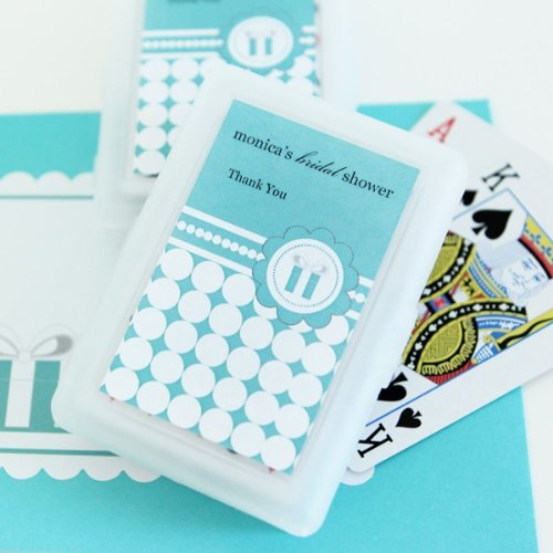 Personalized Playing Cards - Something Blue - Total 100 items (Wedding Favors Cards Personalized Playing)