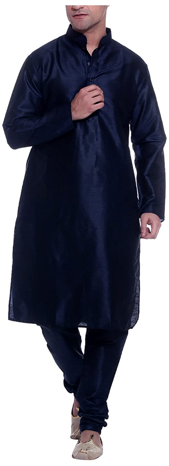 Royal Men's Threadsart Silk Kurta Pyjama Navy Blue NAVY-KP-SILK-KC-38-$P