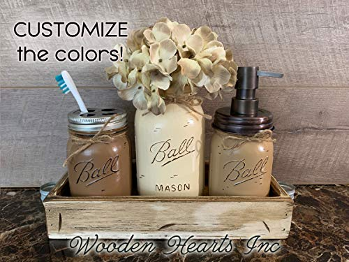 BATHROOM Toothbrush Jar SET in Wood Tray ~Quart Jar Flower Vase, Q-Tip Holder ~Ball Mason Canning JARS PAINTED Distressed ~Soap Dispenser ~Accessories ~Gray Blue Green White Brown - Set Country Brass Bath
