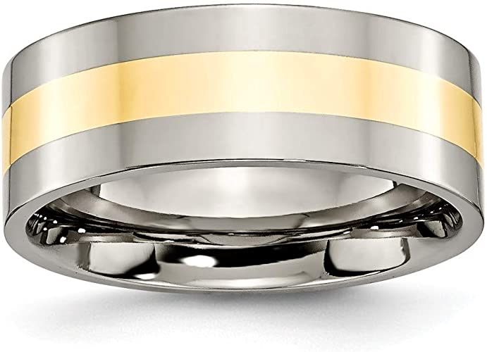 Titanium Wedding Band Ring with 14K Yellow Gold Inlay Size 9.5